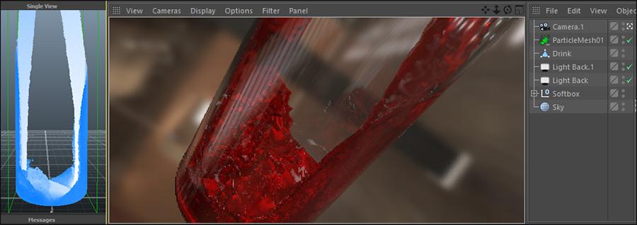 آموزش ریختن مایع داخل شیشه در Realflow و Cinema 4d