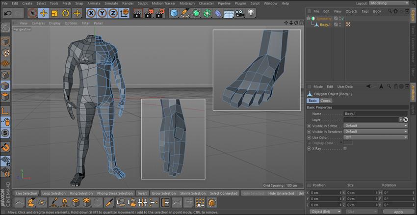 آموزش فارسی مدلسازی بدن کاراکتر در Cinema 4d