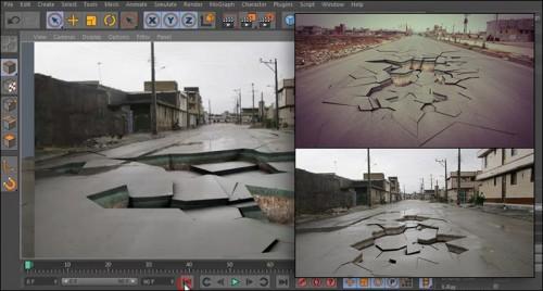 آموزش خرد شدن زمین در نرم افزار Cinema 4d