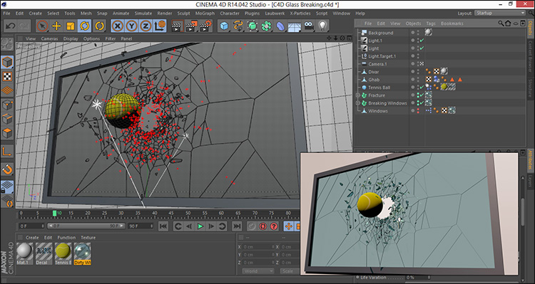 آموزش خورد شدن شیشه سه بعدی در افتر افکت و Cinema 4d