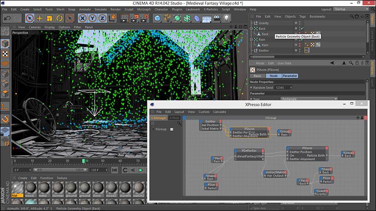 آموزش باراش باران سه بعدی در Cinema 4d