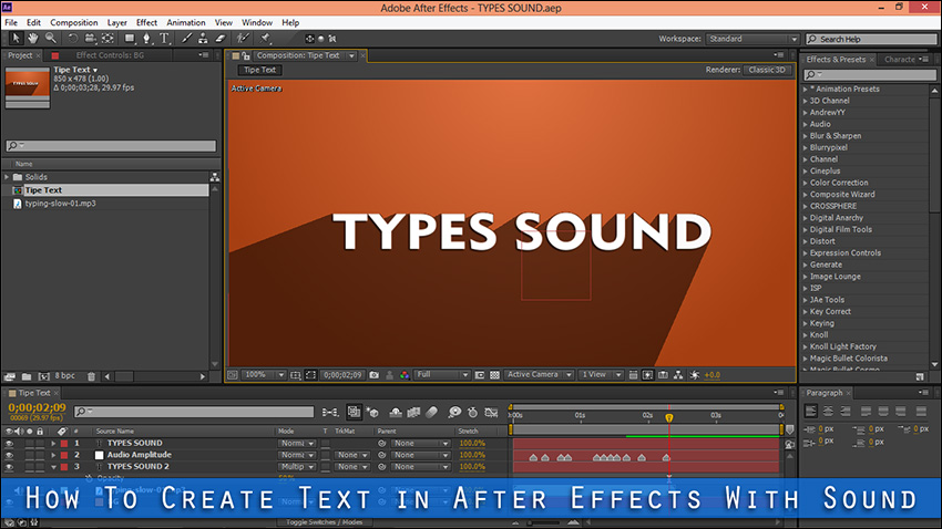 How To Create Text in After Effects With Sound