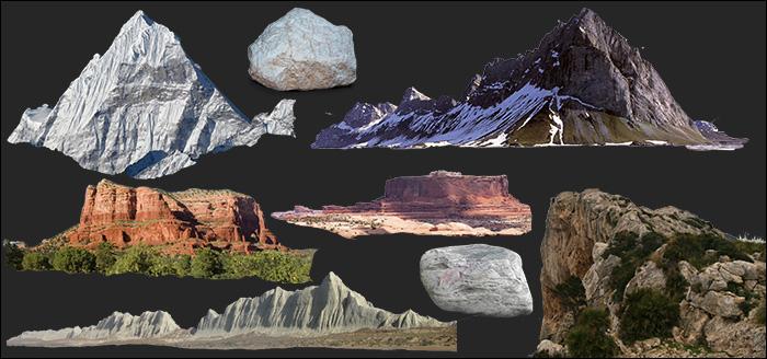 دانلود انوع فوتیج کوه و سنگ برای مت پینتینگ