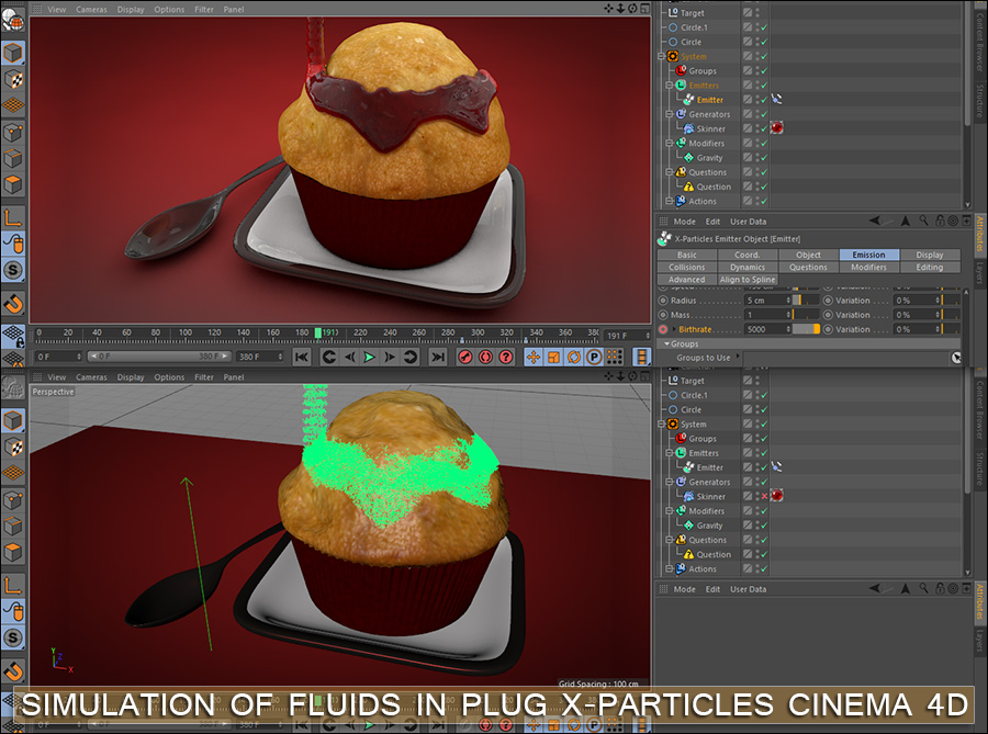 Simulation of fluids In plug X-Particles Cinema 4d