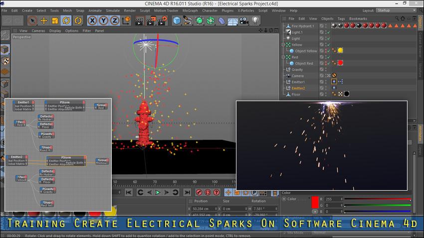 آموزش ساخت جرقه برق در Cinema 4d