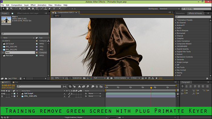 Training remove green screen with plug Primatte Keyer