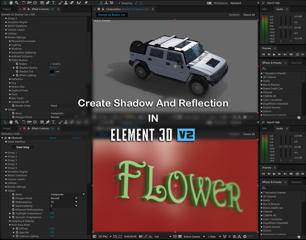 Tutorial Create Shadow Map And Reflection In Element 3d V2