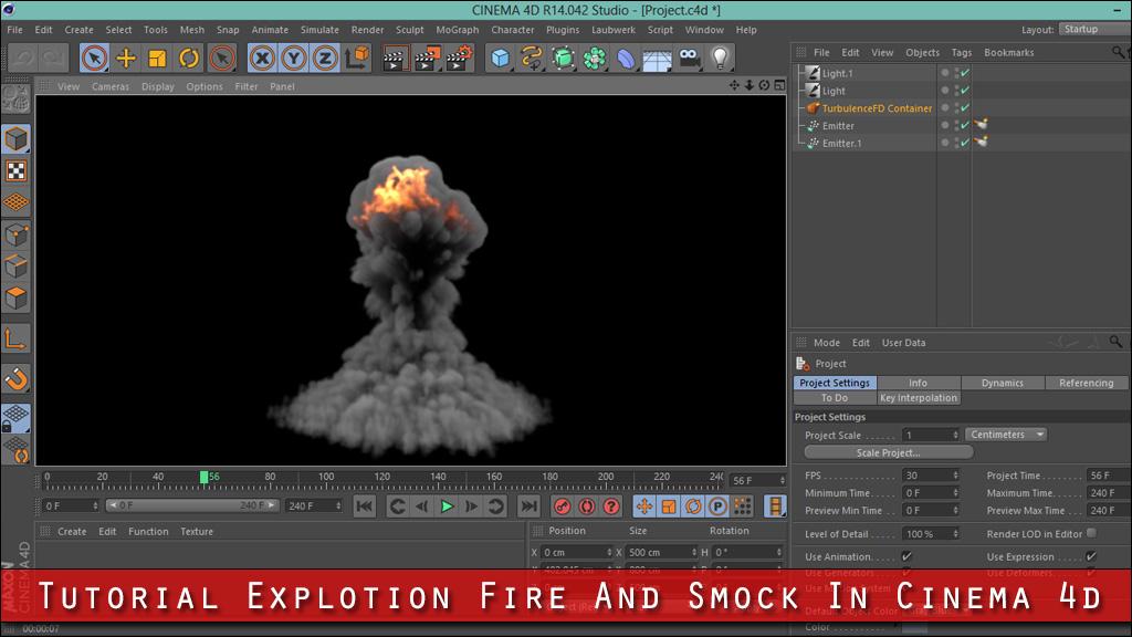 آموزش ساخت صحنه انفجار آتش در Cinema 4d