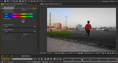 آموزش تنظیم رنگ قرمز در ویدیو با افتر افکت