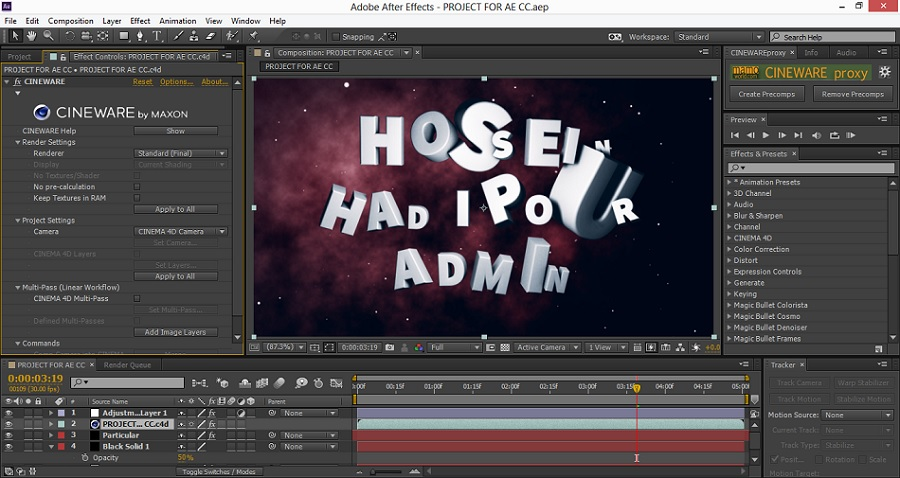 tutorial Cineware in after effects
